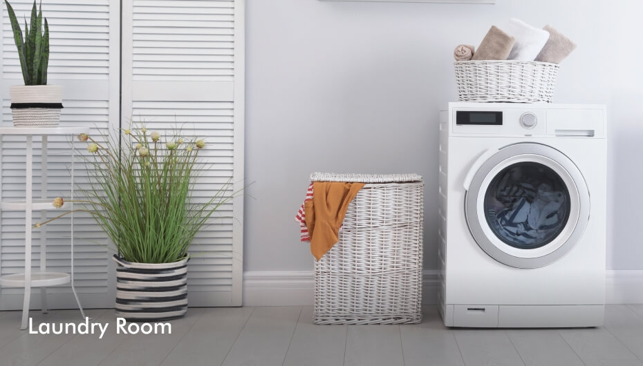 Tasteful laundry room furniture and decor