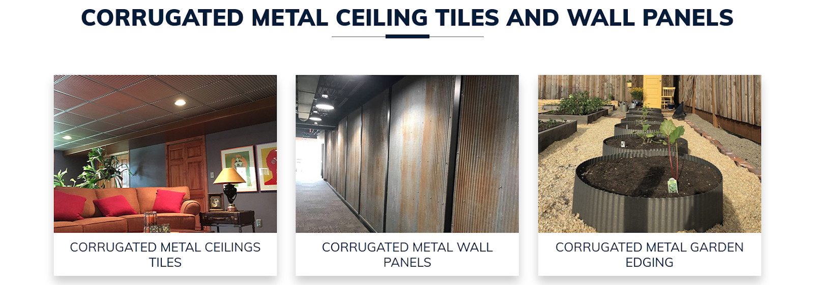 Corrugated metal ceiling tiles and wall panels