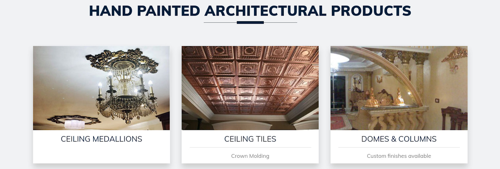Hand painted architectural products
