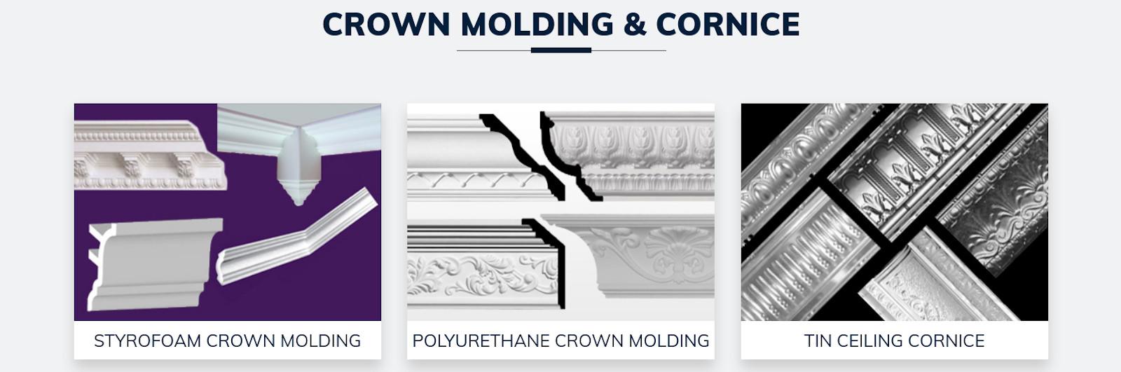 Crown molding and cornice