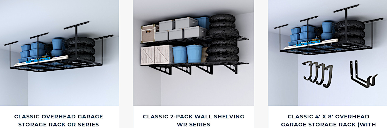 Competitive overhead garage storage racks