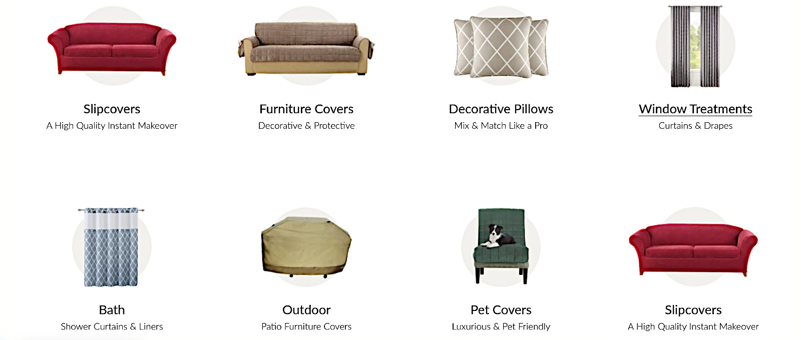 Recommended furniture covers, slipcovers, pillows, home furnishings