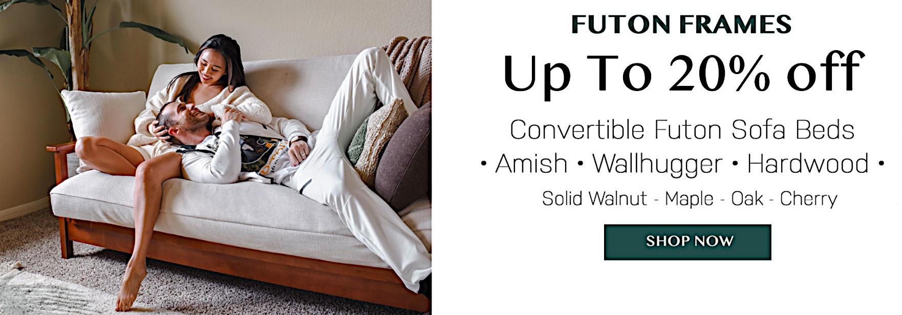 Stylish convertible futon sofa beds, amish, wallhugger, hardwood